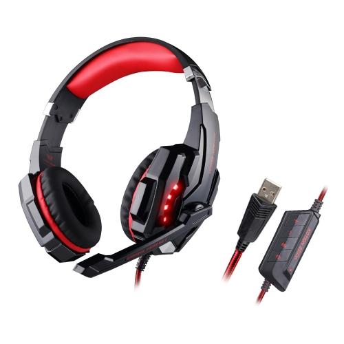KOTION EACH G9000 Gaming Headphone USB 7.1 Surround Sound Version Game Gaming Headset Noise Cancellation Earphone w / Mic LED Light Black-red for Computer Desktop Notebook Laptop