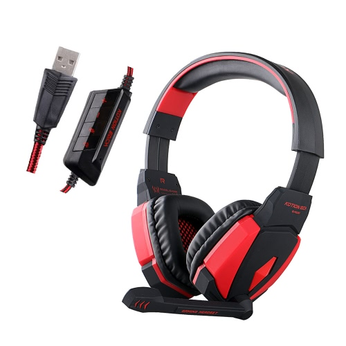 KOTION EACH G4000 USB HiFi Stereo Gaming Headphone with Mic Volume Control - Black / Red 11127