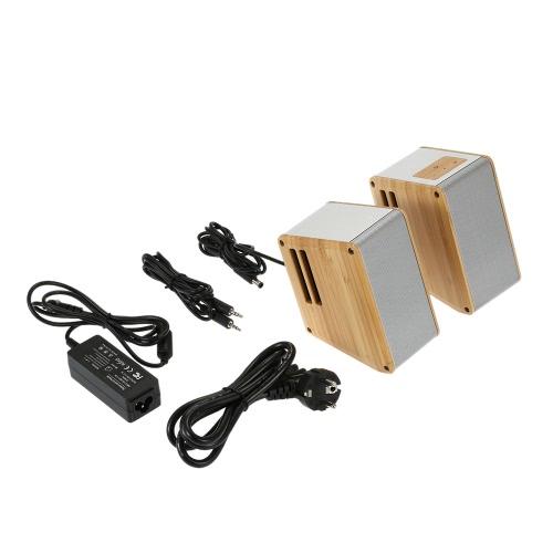 Buy HIFI Wooden Speaker 15W * 2 Stereo AUX Audio Output iPhone 6S Plus Smart Phones Tablet NoteBook Laptop Desktop US Plug