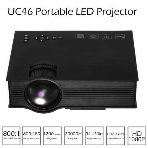 UC46 LED Projector 1200 Lumens 800 * 480 Pixels 800 : 1 DLNA Miracast WiFi  HD, VGA, 3in1 AV port, USB port, SD card - Black EU PlugMini Projectors<br>UC46 LED Projector 1200 Lumens 800 * 480 Pixels 800 : 1 DLNA Miracast WiFi  HD, VGA, 3in1 AV port, USB port, SD card - Black EU Plug<br><br>Blade Length: 29.8cm