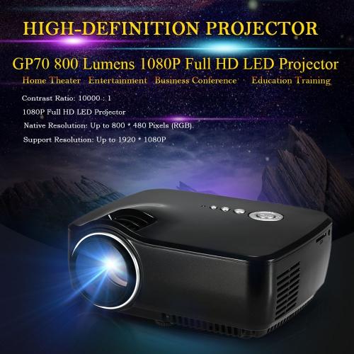 GP70 HD LED Projector 800Lumens Contrast Ratio 10,000 : 1 Projector 1080P Full HD Aspect Ratio 16:9 Projection Machine w/ HDMI VGA AV USB SD Card  Slot Port Remote Control V2013EU