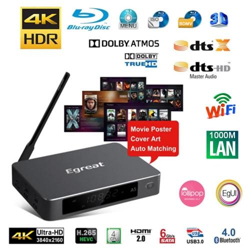 Egreat A5 TV Box  Android 5.1.1 Hi3798CV200  Support Dolby True-HD SATA 1000M LAN WiFi -US Plug