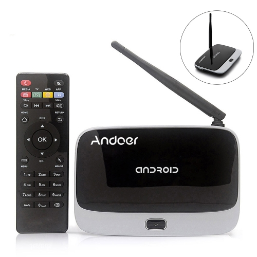 CS-918T 1080P Smart Android 4.4 TV Box Rockchip RK3128 Quad Core ARM Cortex A7 1.3 GHz 2G / 16G H.265 XBMC DLNA Miracast Airplay WiFi Bluetooth 4.0 OTG TF Card Slot External Antenna with Remote Controller V1131EU