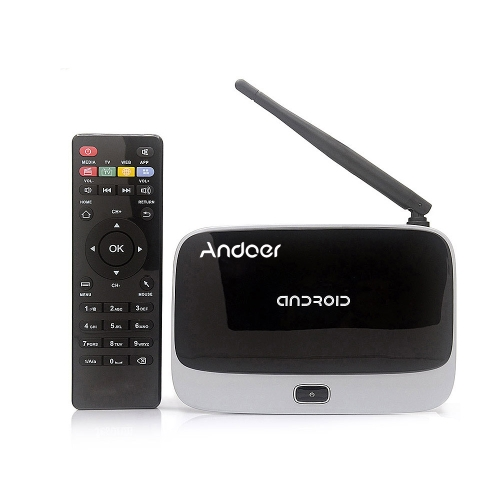 CS-918T 1080P Smart Android 4.4 TV Box Rockchip RK3128 Quad Core ARM Cortex A7 1.3 GHz 2G / 16G H.265 XBMC DLNA Miracast Airplay WiFi Bluetooth 4.0 OTG TF Card Slot External Antenna with Remote Controller V1131US