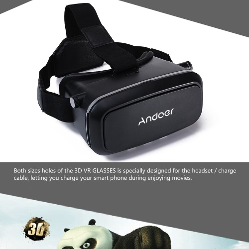 "Andoer CST-09 Version 3D VR Glasses Virtual Reality DIY 3D VR Video Movie Game Glasses Head Mount with Headband for iPhone Samsung / All 4.0 ~ 6.0"" Smart Phones"