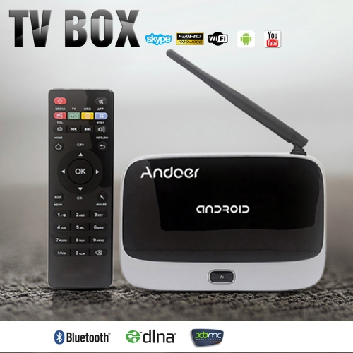 Andoer CS918 1080P Smart Android 4.4 TV Box Rockchip RK3188T Quad Core Cortex A9 1.4GHz 1.4 GHz 2G / 32G HDMI Mini PC H.264 Kodi /  XBMC DLNA Miracast Airplay WiFi OTG Bluetooth 4.0 Smart Multimedia Player TF / MicroSD Card Slot External Antenna with Rem