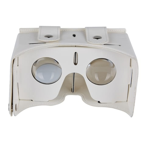 DIY VR 1.0 Virtual Reality Glasses DIY PU Leather Cardboard 3D VR Box Glasses Headset Universal for Android iOS Windows Smart Phones with  4 to  5.5 Inches White V2290W