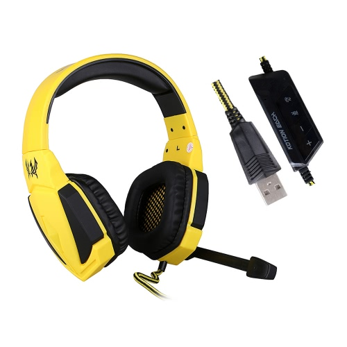 KOTION EACH G4000 Gaming Headphone USB Stereo Headset Noise Cancellation Music Earphone w / Mic LED Light Volume Control Yellow for Computer Desktop Notebook Laptop Games V1649Y