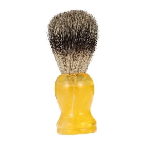 Buy Hair Shaving Brush Professional Pure Badger Yellow Handle Barber Salon Men Facial Beard Cleaning Appliance Shave Tool Razor