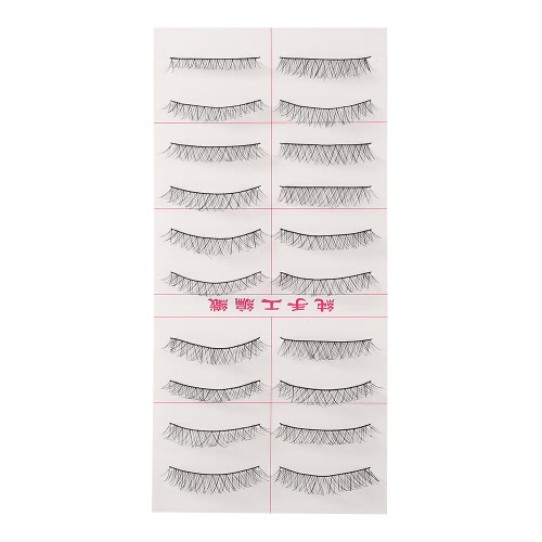 10 Pairs False Eyelash Eyes Makeup Lashes Pure Hand-made Upper Eyelashes Lengthen Cross Eyelashes Women Makeup Tool