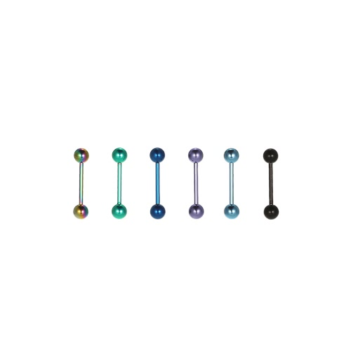 6Pcs Straight Barbell Tongue Rings Body Piercing Jewelry Stainless Steel Piercing Bar