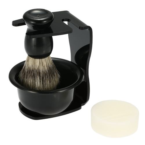 4 In 1 Men's Shaving Razor Set for Dry or Wet Shaving Badger Hair Brush + Shaving Stand + Soap Bowl + Shaving Soap Razor Holder Male Facial Clean Tools Beard Shaving Kit Soap Dish  Blaireau Brush
