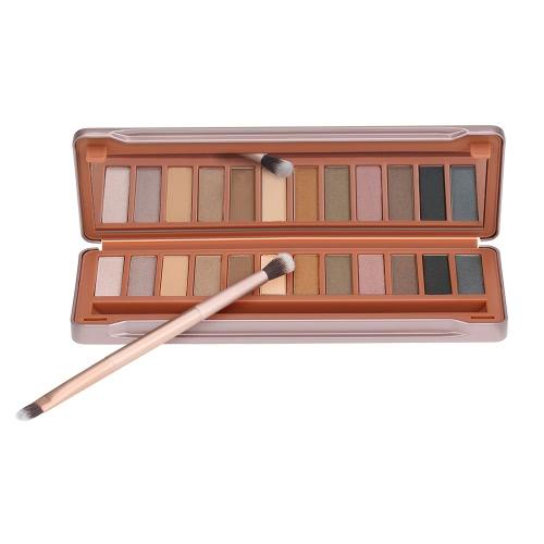 Buy 12 Color Eyeshadow Palette Make Set Cosmetic Eye Shadow Shimmering & Matte Tool + Facial Makeup Brush