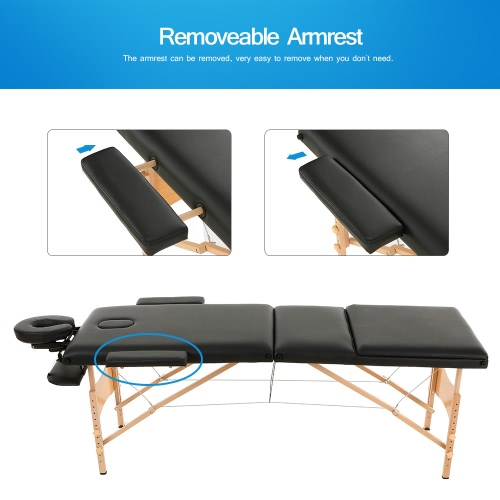 ABODY 3 Fold Portable Massage Table 84''L Therapy Adjustable Massage Bed Facial SPA Bed Tattoo Beauty Salon Device Black W2991
