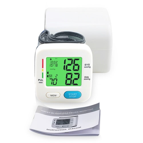 Buy Fully Automatic Backlight Wrist Blood Pressure Monitor Health Care Portable Sphygmomanometer LCD Display Tonometer