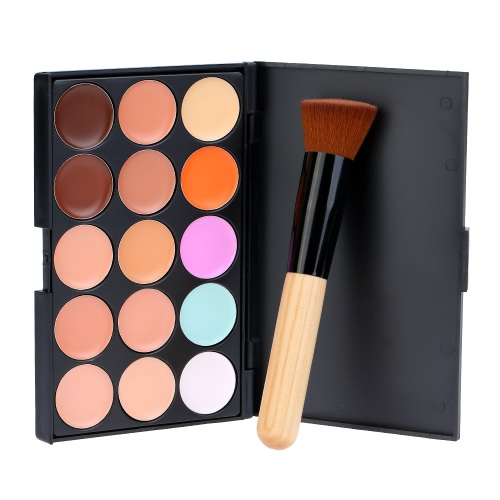 15 Colors ABODY Make Up Cream #3 Facial Camouflage Concealer with Makeup Foundation Brush and Sponge Powder Puff Cosmetic Tool Mini Size for Women W2777-3
