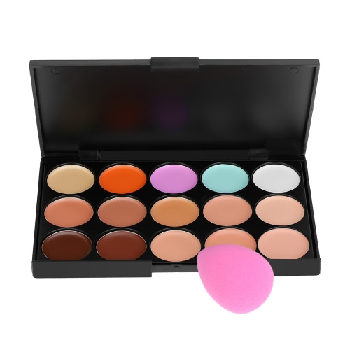 15 Colors ABODY Make Up Cream #1 Facial Camouflage Concealer Contour Foundation Cream with Sponge Powder Puff Cosmetic Tool Mini Size for Women W2778-3