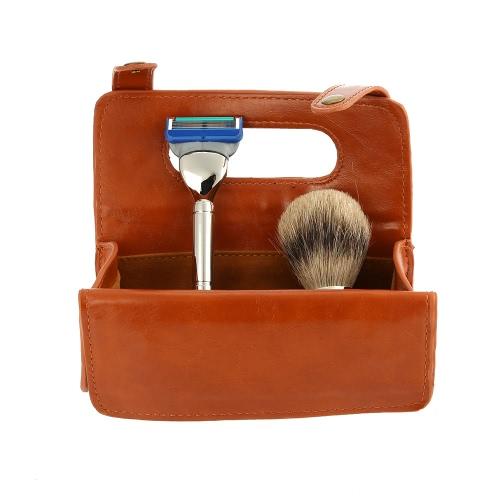 Buy 3 in1 Men's Shaving Razor Set Badger Brush + PU Leather Toiletry Case Tools Bag