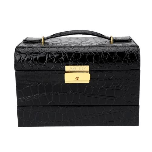 Buy Abody Jewelry Box Leather Display Case Storage Organizer Semi-automatic 3 Layers