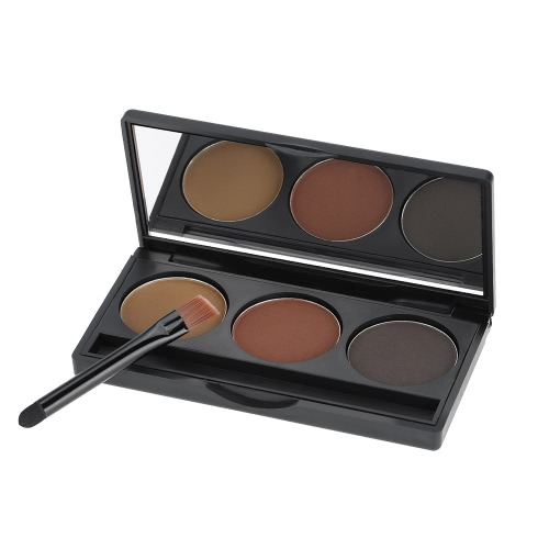 Abody Professional 3 Colors Eyebrow Powder Shadow Palette Eyeliner Powder Nature Coffee & Brown Color Cosmetic Tool Makeup Kit with Brush & Mirror