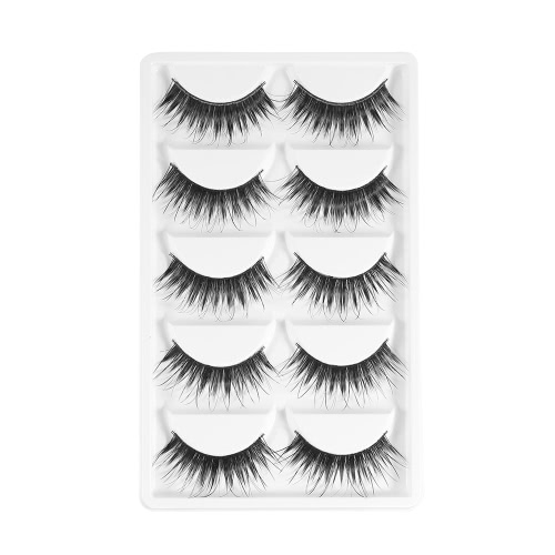 5 Pairs Upper Eyelashes False Eyelash Hand-made Fake Lashes Lengthen Eyelashes Cross Lashes Women Eye Makeup Tool W3075
