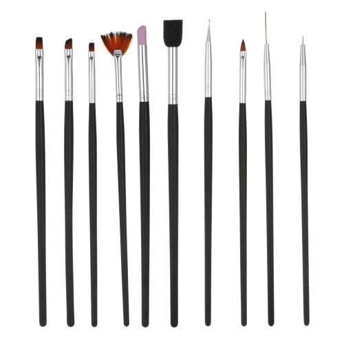 Buy 1Nail Art Painting Brush Set Nylon Finger-nail & Toenail Dotting Pen UV Gel Black Nail Salon Decoration Tools