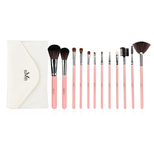 Abody 12pcs Makeup Brush Set Essential Cosmetic Kit with Cosmetic Bag Facial Powder Brush Professional Eyeshadow Eyebrow Eyeliner Brush