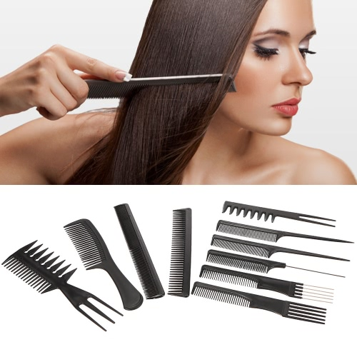 Pro 10pcs Hair Combs Kits Salon Barber Hairbrush Anti-static Comb Brushes Hair Care Styling Tools Set