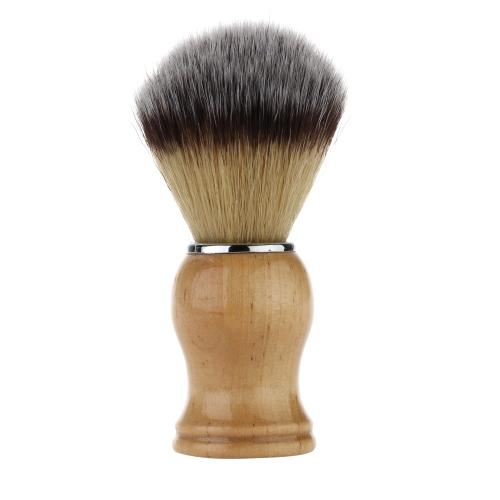 1pc Nylon Shaving Brush & Wood Handle Razor Brush Yellow Men's Mustache Shaving Tool Male Facial Cleaning Tool Shaving Set W1659