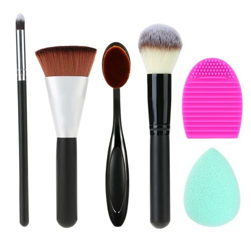 Buy 6 1 Cosmetic Set Makeup Brushes Kit Blush Brush Eyeshadow Contour Washing Cleaner Powder Puff Face Tools