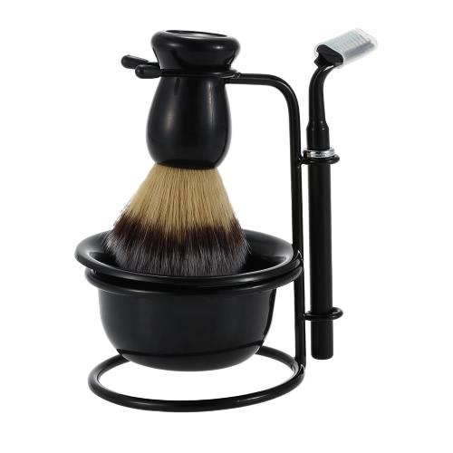 Buy 4 1 Men's Shaving Razor Set Dry & Wet Male Black Facial Cleaning Tool Holder + Soap Bowl Badger Brush