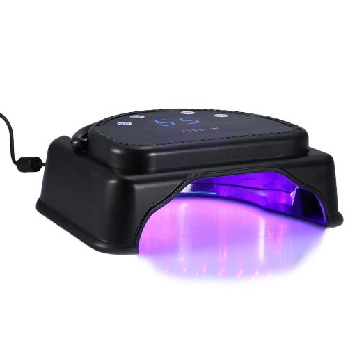 Anself 110-240V 64W Pro 32pcs LED Machine à Sècher les Ongles Lampe de Polymérisation avec Poignée de Levage Capteur Tactile Ecran LCD Puissante pour Durcissement de Gel de Polissage à Ongles Outil pour Salon Prise UE Noir
