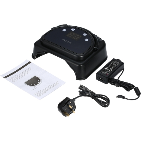 Anself 110-240V 64W 32pcs Pro LED dessiccateur d'ongle lampe de polymérisation Machine avec poignée capteur LCD écran tactile puissant vernis à ongles Gel sécheuse Salon outil UK Plug noir de levage