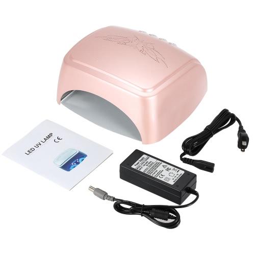 60W nouveau papillon CCFL + LED UV lampe ongles sèche ongles Machine pour ongles polonais Gel Nail Art outils avec minuterie automatique-induction (rose)