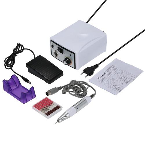 25000 tr/min Nail Drill Pro électrique Nail Art Salon perceuse Kit jeu de fichiers vitrage Machine manucure et pédicure perceuse pour Gel polonais (blanc)