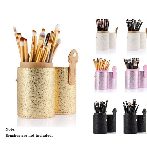 ANSELF Makeup Brush Holder Brushes Cup Container Organizer PU Cosmetic 4 Colors Storage Tool Brushes Round Tube Holder Purple W3188W