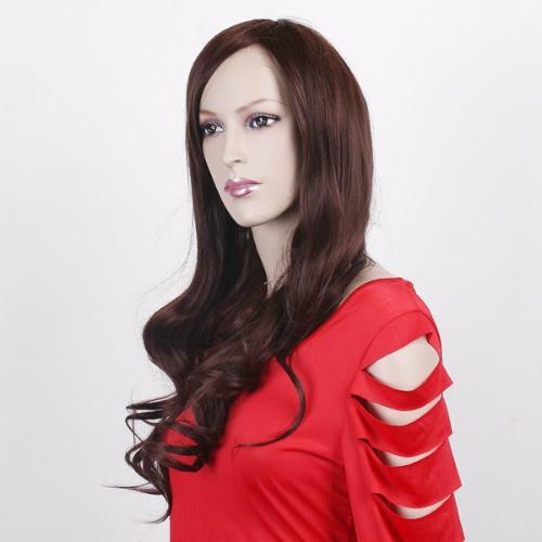 Fashion Long Full Curly Wavy Hair Wig Dark Brown for Women W026