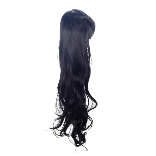 80cm Fashion Big Wave Cosplay Wig Women's Long Curly Hair Black W042B