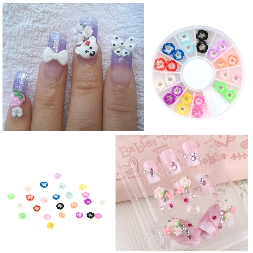 Buy 2Mix 12 Colors 3D Polymer Clar Color Rose Flower Nail Art Rhinestone Tips Gems Decoration Round Wheel
