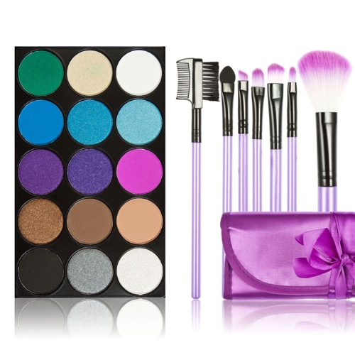 New 15 Colors Shining Eyeshadow Palette + 7PCS Purple Makeup Brush