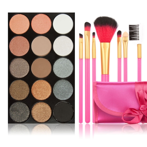 New 15 Colors Eyeshadow Palette + 7PCS Rose Makeup Brush W2034-1