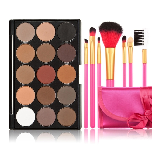 New 15 Colors Eyeshadow Palette + 7PCS Rose Makeup Brush