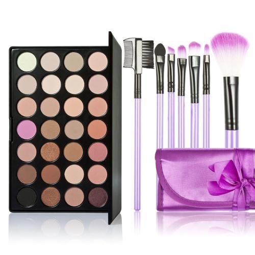 New 28 Colors Eyeshadow Palette + 7PCS Rose Makeup Brush W2035-1