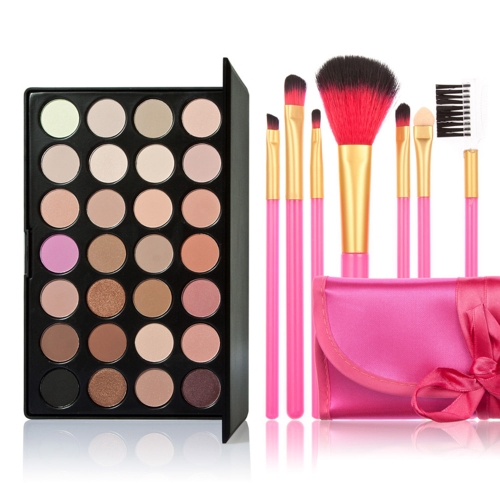 New 28 Colors Eyeshadow Palette + 7PCS Rose Makeup Brush