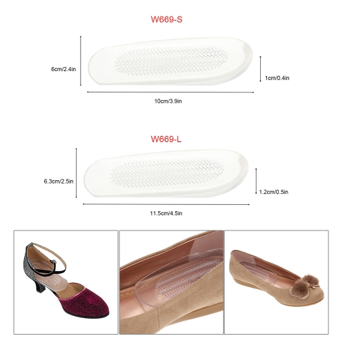 1 Pair Transparent Foot Heel Cups Cushion PU Shoe Pads Half Insoles A W669-S