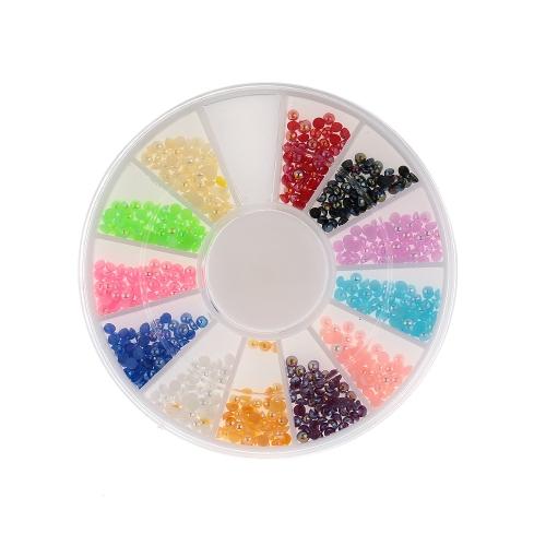 1Set DIY Colors Nail Art Half Round Pearls Rhinestone Decoration Round Wheel Nail Tools