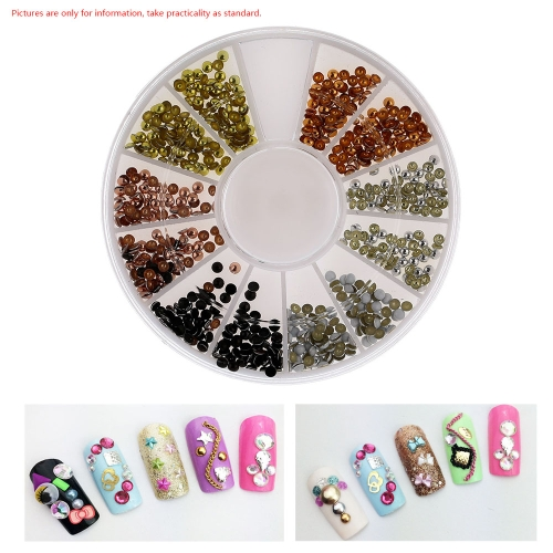 12 Boxes/set 6 Colors Round Shape Nail Accessories Metal Nail Art Decorations For DIY