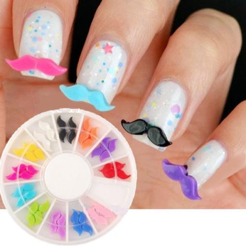 Buy 2DIY 3D Colors Resin Beard Nail Art Decoration Round Wheel