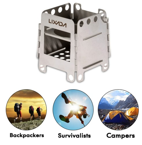 Lixada Outdoor Camping Portable Stainless Steel Lightweight Folding Wood Stove