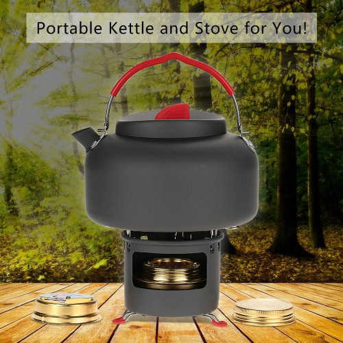 ALOCS Lightweight Outdoor Kettle Teapot Camping Cookware Water Boiler Pot 1.4L Alcohol Stove Heater And Support Bracket Portable Y2880